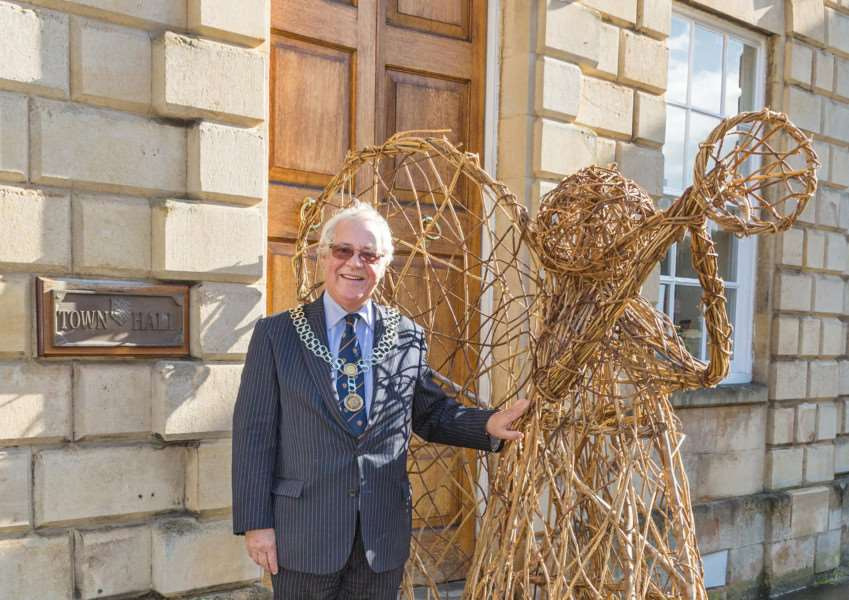 Stamford mayor John Dawson with the angel he's sponsoring''Photo: Bob Laughton