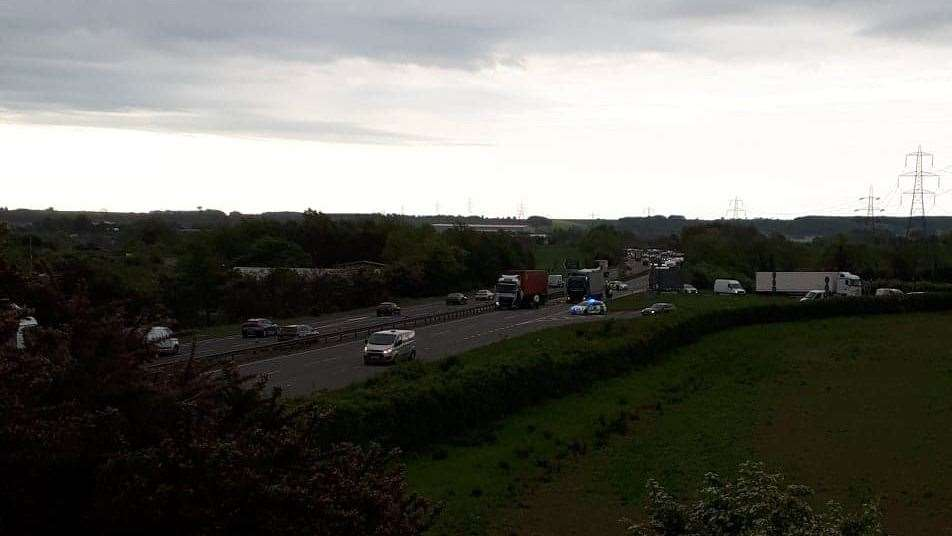Two lorries involved in a crash on the A1 at Grantham. (10869966)