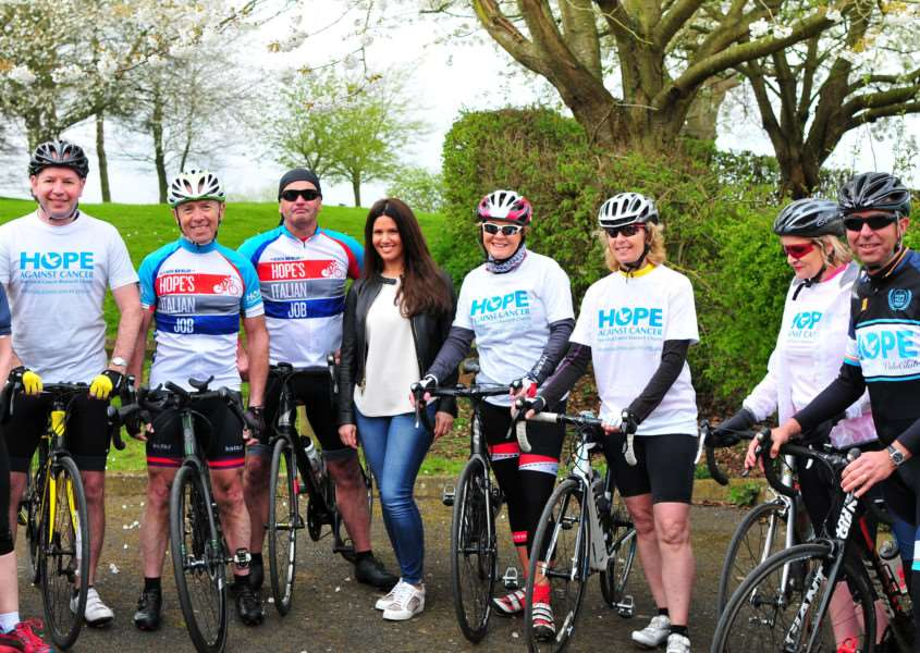 Rebekah Vardy launches the Hope Against Cancer sponsored charity cycle challenge at Rutland Water'Photo: Lee Hellwing