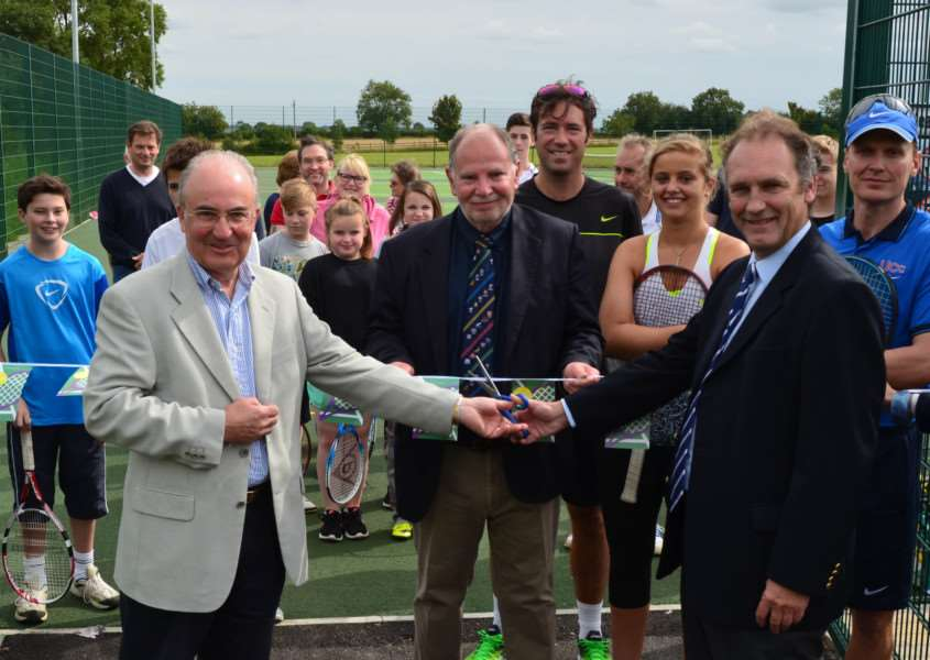 Rob Sawyer, chair of strategy at Uppingham Ccommunity College, Robert Wills of The Falcon Hotel, and Richard Baker, non executive director of the Lawn Tennis Association at the opening of the new courts. Photo: Alan Walters EMN-150914-105614001
