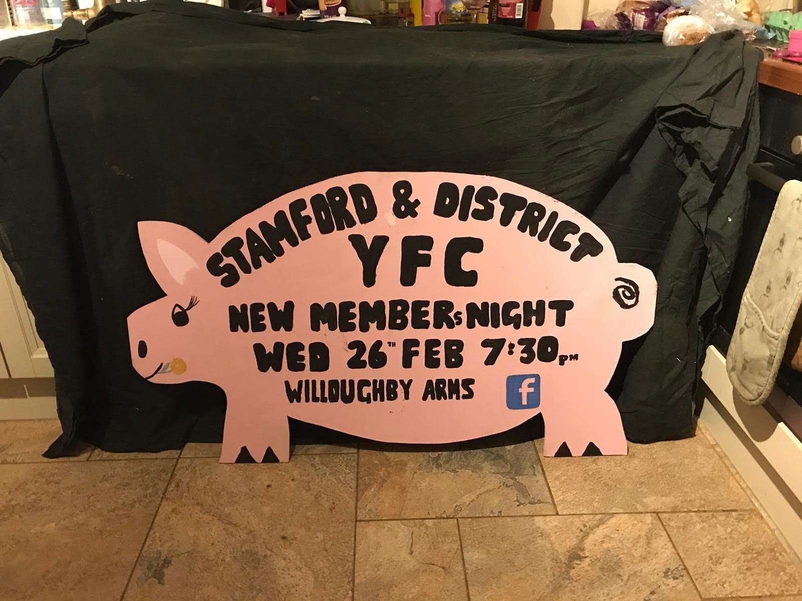 The Stamford and District YFC is advertising its relaunch on plywood pigs. (29116859)