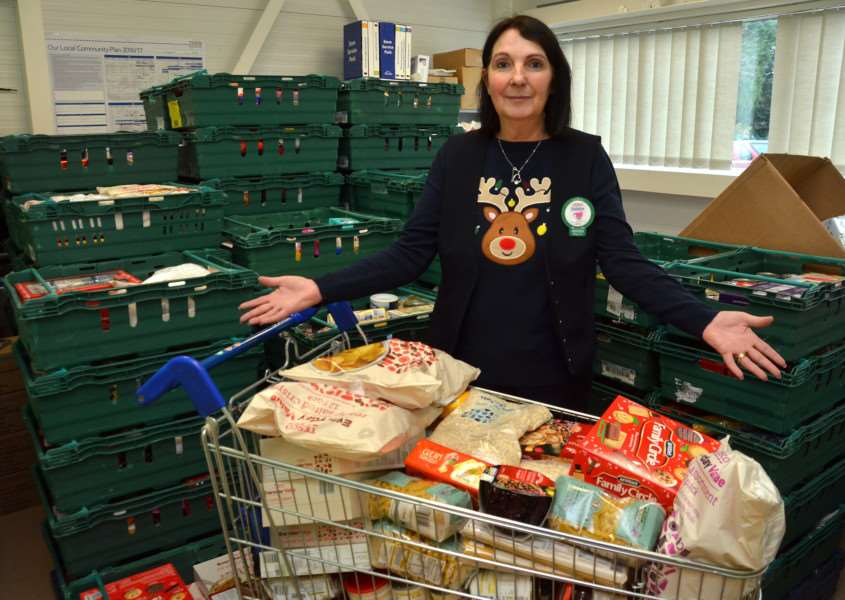 Debbie Richardson of Holbeach Community Larder after a joint collection with Sutton Bridge Foodbank at Tesco Holbeach in 2016. Photo by Tim Wilson. SG031216-187TW.