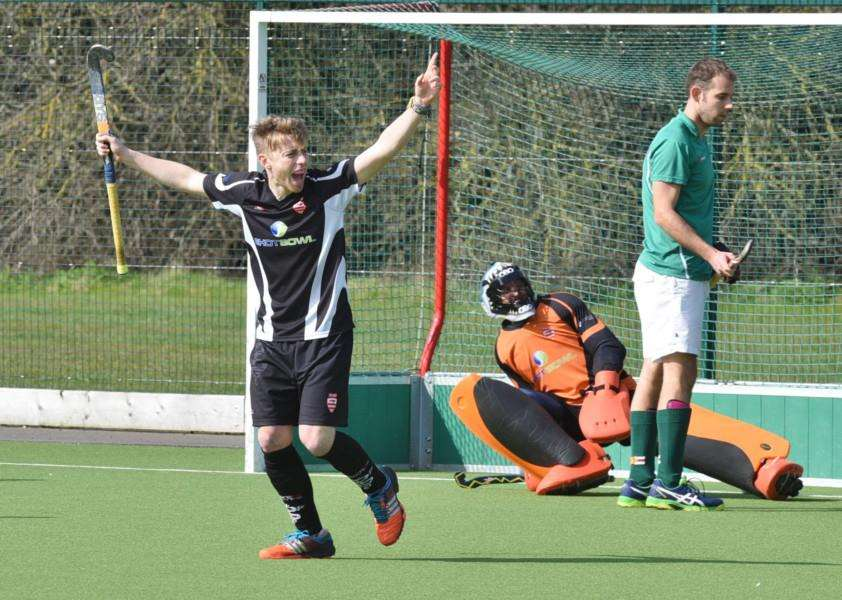 Hockey action from Bourne Deeping Men v Guernsey at AMVC Glinton.'Bourne Deeping 1st goal. EMN-160320-173459009