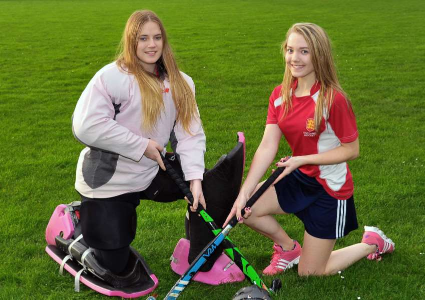 New College Stamford hockey girls Becky Warr (left) and Rhianne Saunders have been chosen to play in the England College's hockey squad. EMN-151221-095535001