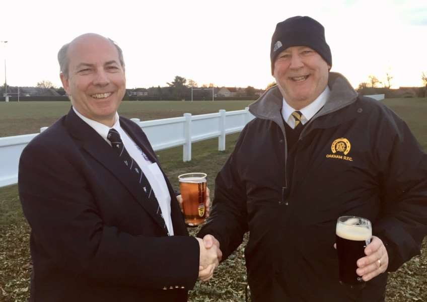 Action from Stamford Rugby v Oakham RFC. Club presidents, Neil Jolly (Stamford Rugby) and Steve Beanland (Oakham RFC) 'Photo: Pip Warters - pip@acelensman.com