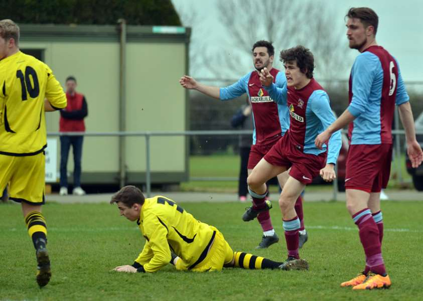 Will Bird puts Deeping Rangers 1-0 up. Photos by Tim Wilson