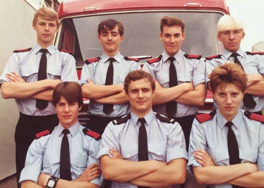Jo Reynolds, Britain's first female firefighter, front right, with her colleagues in 1982