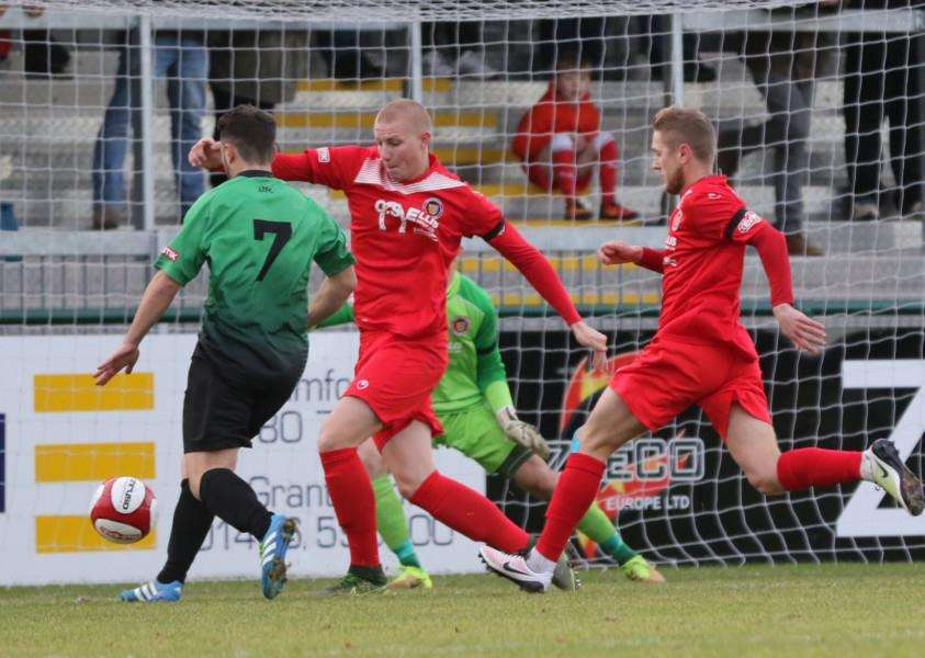 Action from Stamford AFC v Leek Town. Photo: Geoff Atton EMN-161122-092252001