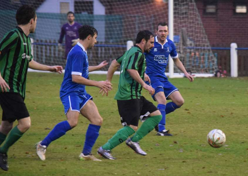 Action from Blackstones against Potton United. Photo: Martin Davies
