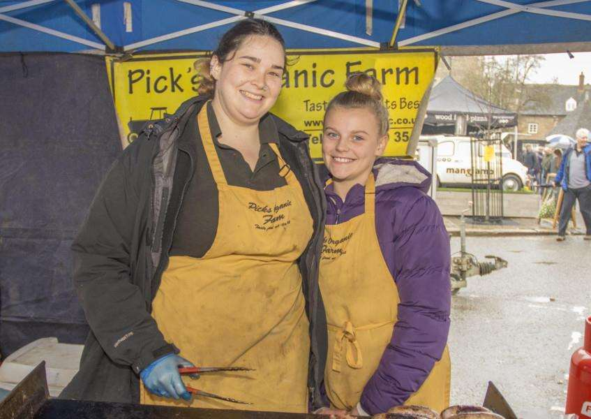 Sophie Chambers and Amy Campbell, 11, from Pick Orgnaic Farm Photo: Lee Hellwing