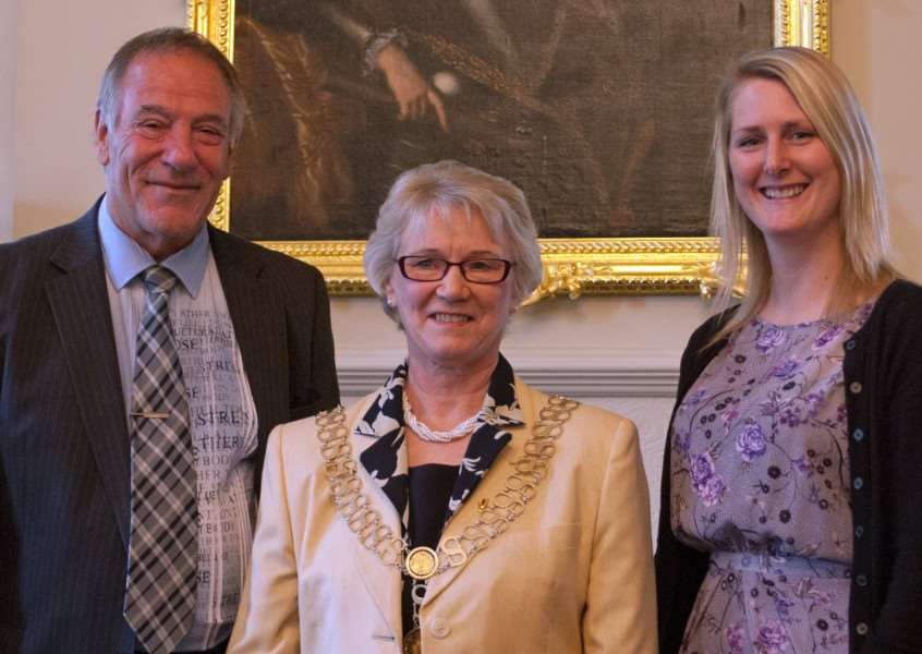 Outgoing poet laureate Bill Taylor, mayor Sue Sandall and new poet laureate Rebecca Westwood EMN-150520-112453001