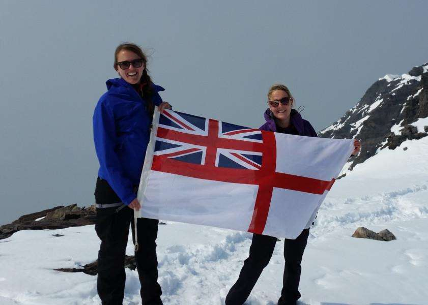 Hannah Phillimore, right, from Ryhall, climbs Mount Edith Cavell in Canada for the Cavell Nurses' Trust. EMN-151011-152750001