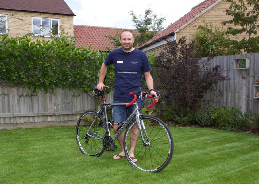 Charity cyclist Richard Noyes who will ride from Land's End to John O'Groats