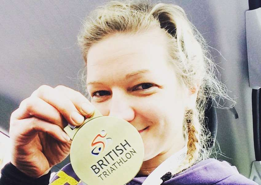 World duathlon champion Claire Steels with her age group gold medal from the Windsor Duathlon British Championships.