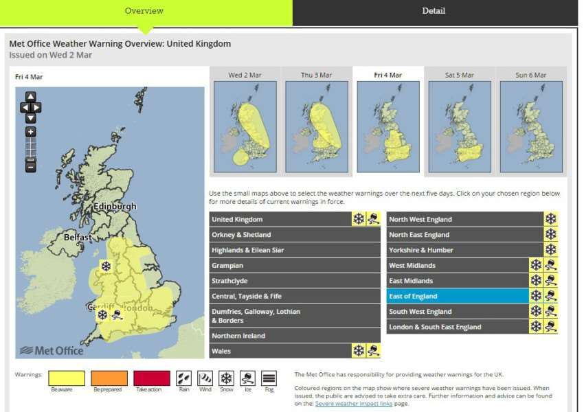 The Met Office has issued warnings for ice and snow until the weekend