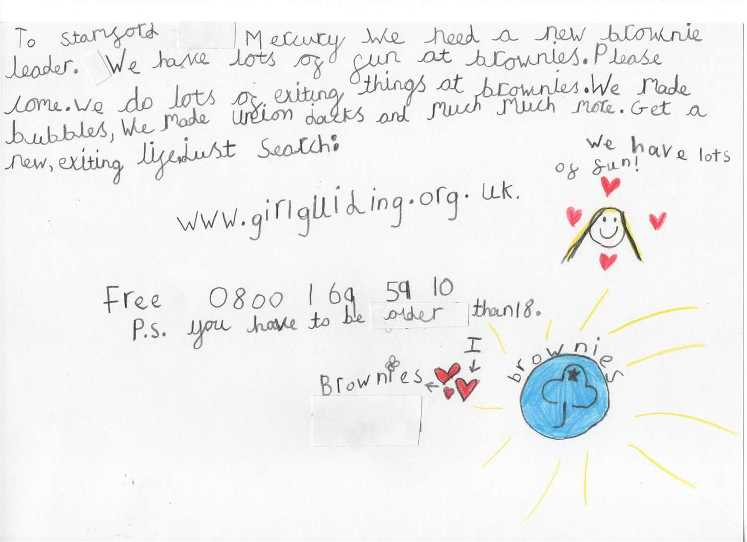A letter written by 1st ketton Brownies