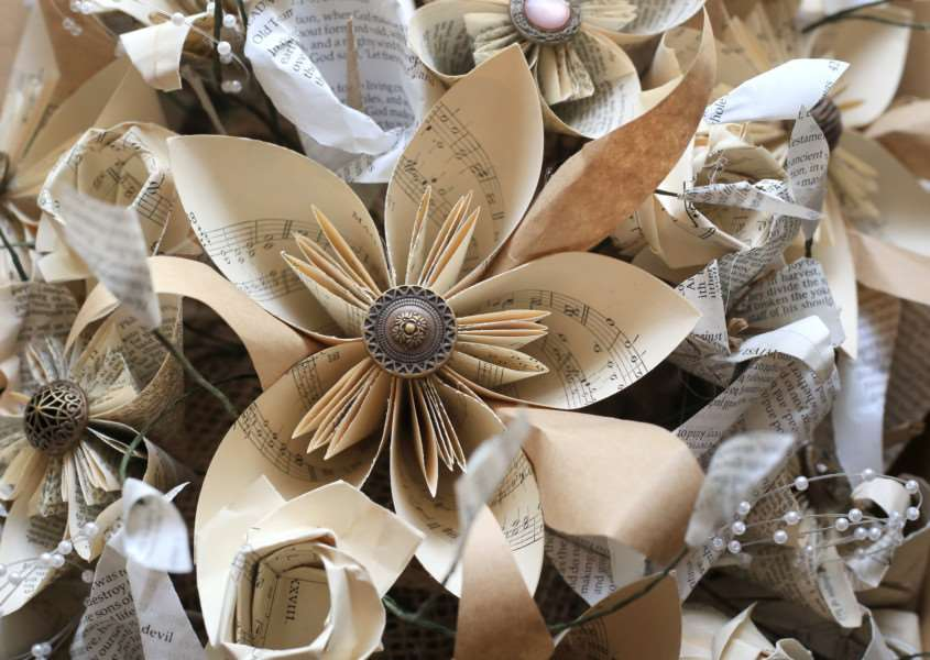 Decorations made from bibles at Witham on the Hill wedding. By Sarah Carter.