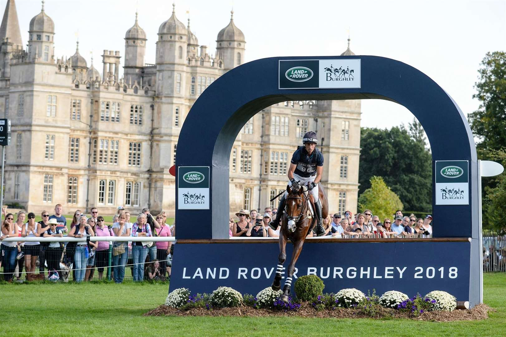 Tim Price riding Ringwood Sky Boy during the cross country phase of the Land Rover Burghley Horse Trials in the grounds of Burghley House near Stamford in Lincolnshire in the UK in 2018