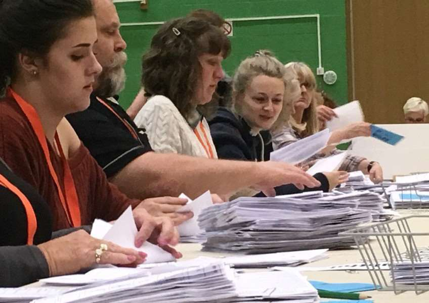 Counting at the Meres leisure centre in the 2017 General Election.