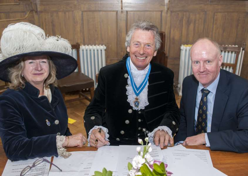Outgoing High Sheriff of Rutland Dr Sarah Furness hands over to 2017/18 High Sheriff Craig Mitchell'Photo: Lee Hellwing