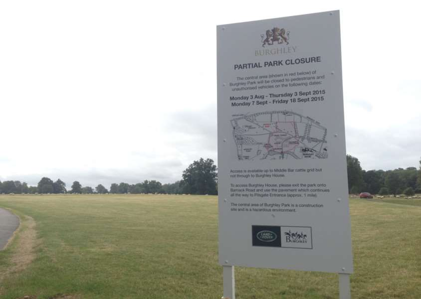 Signs showing the closures in Burghley Park ahead of the 2015 Land Rover Burghley Horse Trials. EMN-150608-105133001