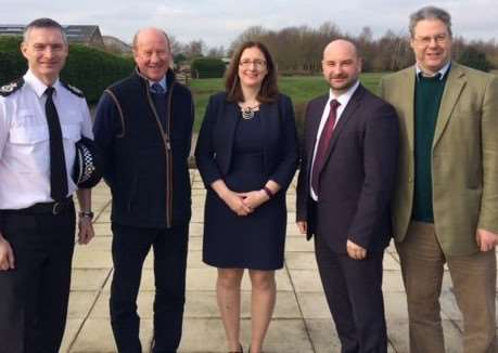 Chief Constable for Lincolnshire Police, Bill Skelly, NFU Regional Director for East Midlands, Gordon Corner, Dr Caroline Johnson, MP for Sleaford and North Hykeham, Police and Crime Commissioner for Lincolnshire, Marc Jones, and Mark Leggott, NFU Lincolnshire county chairman. Photo supplied.