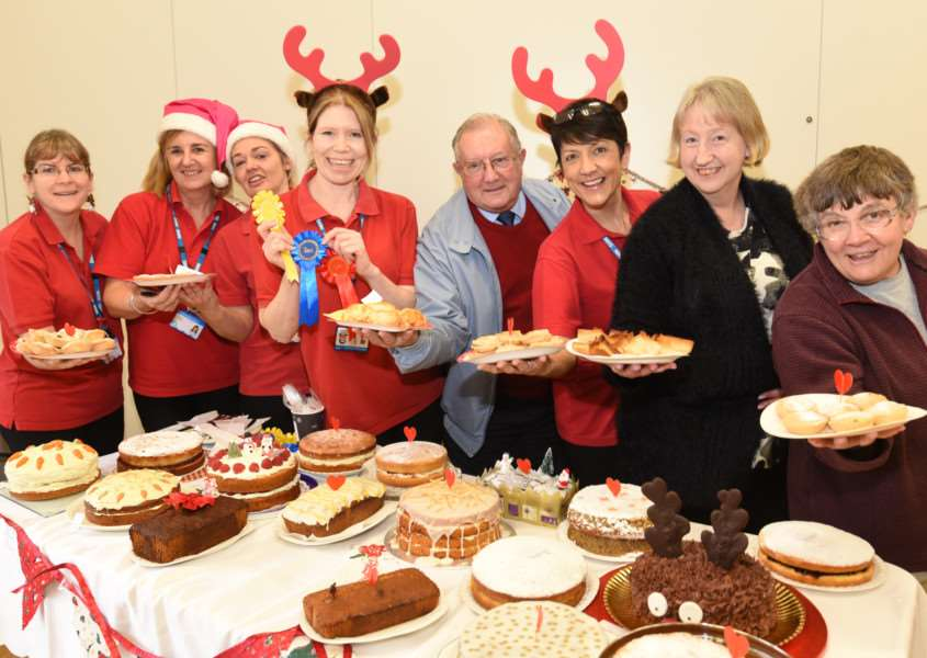 Staff and guests at the Great Cardiac Bake Off at Elsea Park, Bourne EMN-161214-150230009