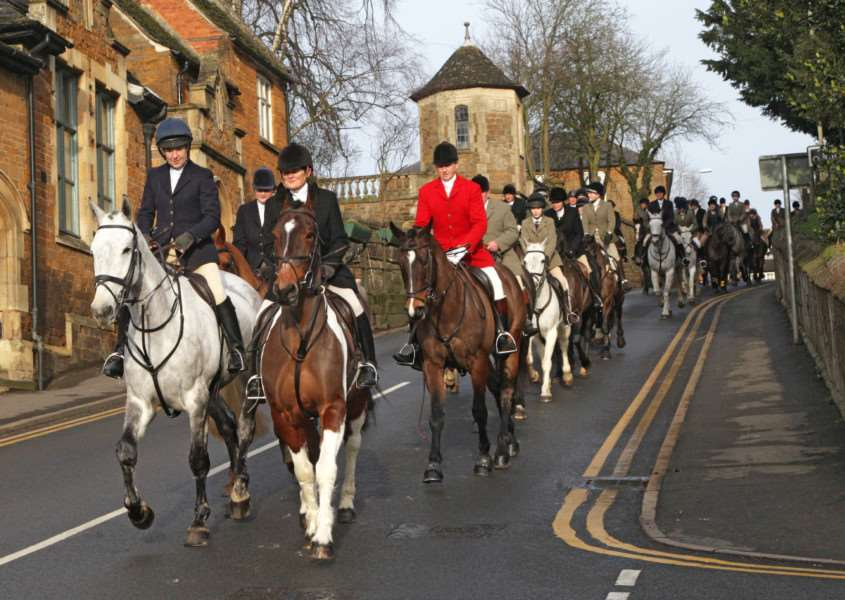 The Cottesmore Hunt meets in Uppingham on New Year's Day 2016. Photo: Richard Adams EMN-160401-094535001