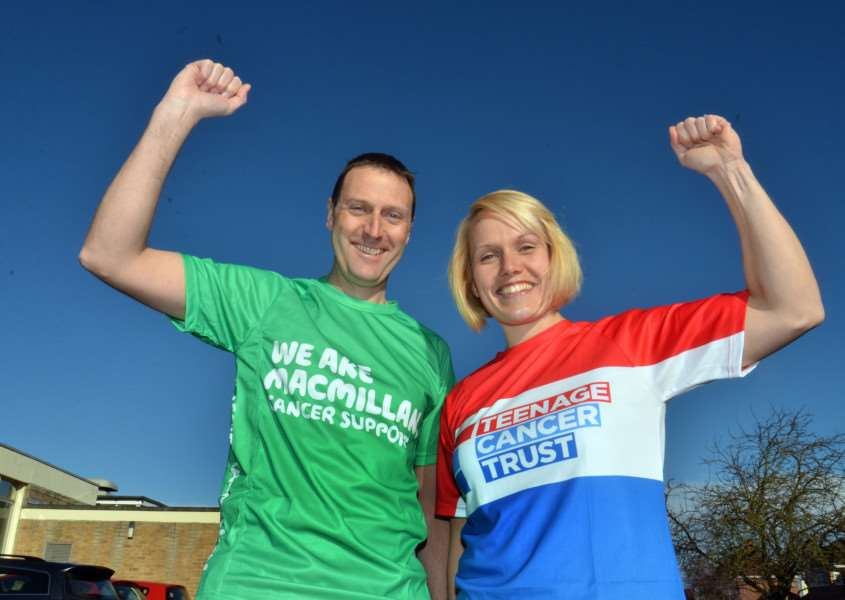 Bourne Grammar School PE teachers Chris Ray and Gemma Hempstead who are running in both London and Paris Marathons in successive weeks. Photo by Tim Wilson.