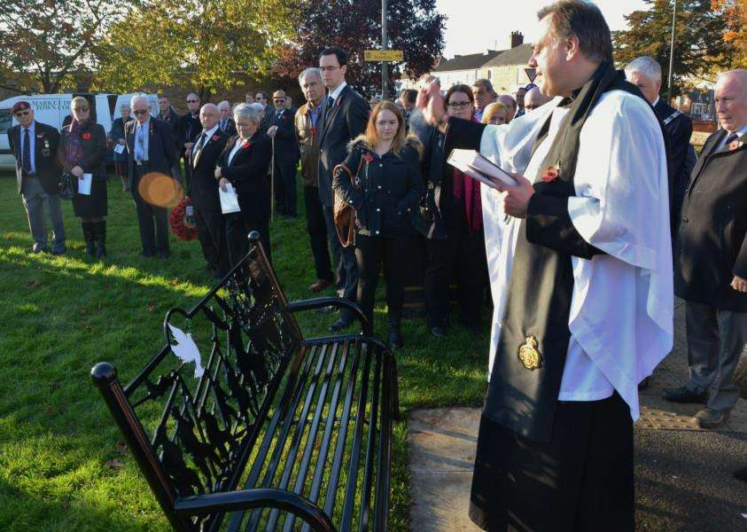 Opening of the Garden of Remembrance and Peace at Riverside Park, Market Deeping. Revd Philip Brent also blessed a new bench. EMN-150111-175413009
