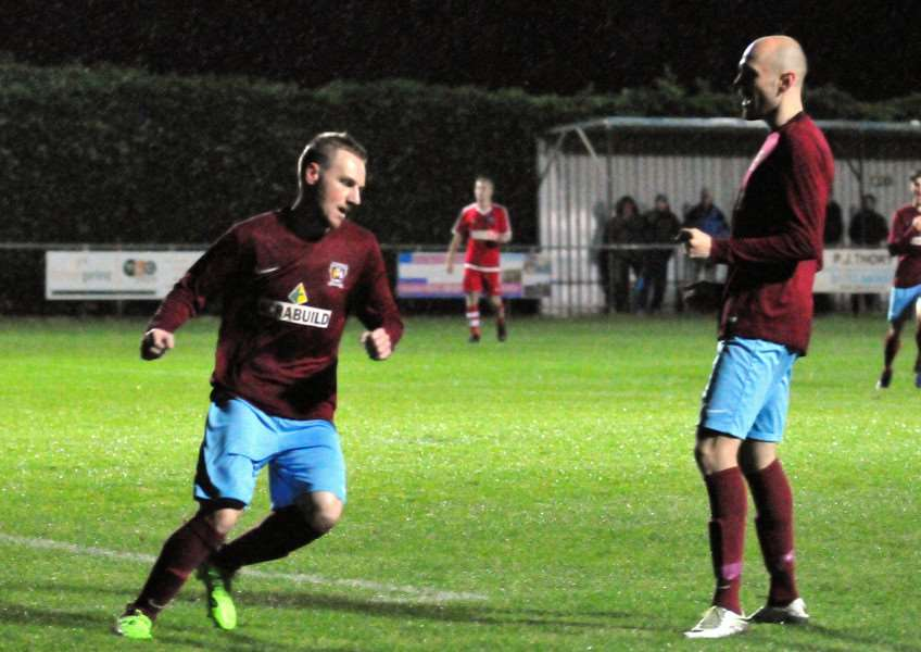 Scott Coupland (left) and Dan Schiavi (right) were on target for Deeping in their win at Eynesbury.