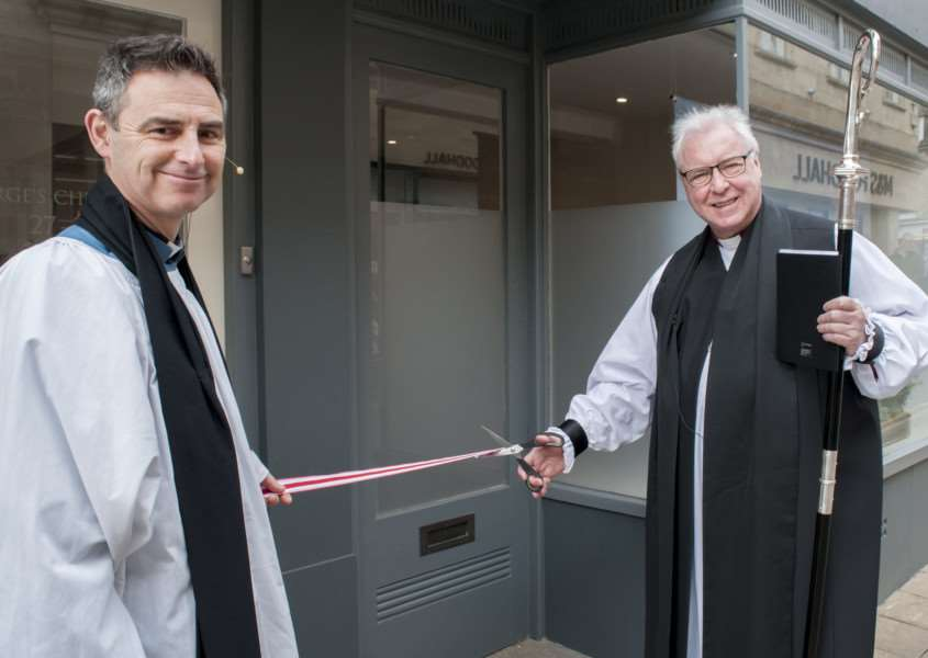 Bishop of Lincoln Christopher Lowson opens the St George's Church Hub in Stamford. He is pictured with rector of St George's Rev Martyn Taylor. Photo: Lee Hellwing