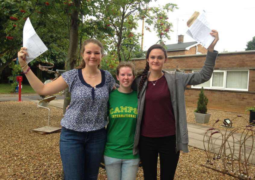 From left to right, Lydia Crawford, Alex Beasley and Rebecca Girard celebrate their GCSE results at Bourne Academy EMN-150820-105314001