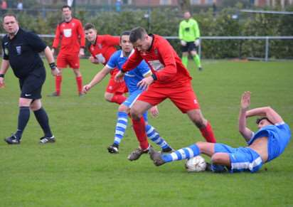 Action from Bourne Town v Lutterworth Athletic. Photo: Bob Lambert. EMN-160126-094333001