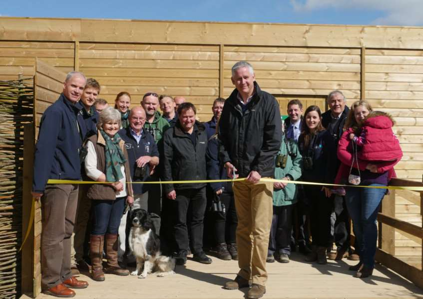 Mark Dorsett from Caterpillar opening the new Osprey hide at Rutland Water on Friday last week. EMN-150505-133548001