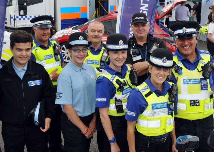 Police Cadets Jordan Wakefield and Erica Halfpenny (front left and second left) with police officers and PCSOs at a community engagement event in Sheep Market, Spalding. Photo by Tim Wilson.