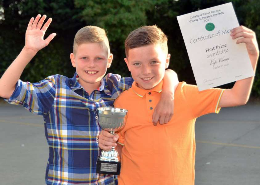 Best mates Isaac Fell and Kyle Warner who was named Crowland Young Achievers of 2017 in the under-13 category during a presentation evening at South View Community Primary School, Crowland. Photo by Tim Wilson. SG050717-209TW.