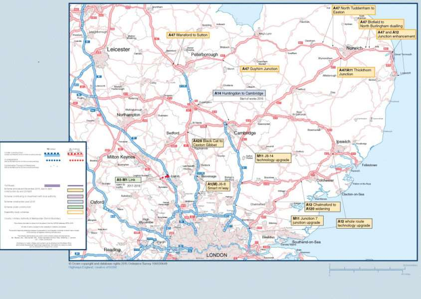 Road upgrades planned across the East of England