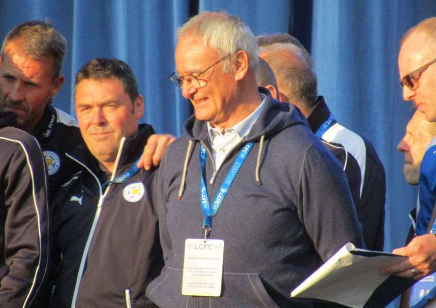Leicester City's triumphant manager Claudio Ranieri on stage at Leicester's Victoria Park EMN-160519-134811001