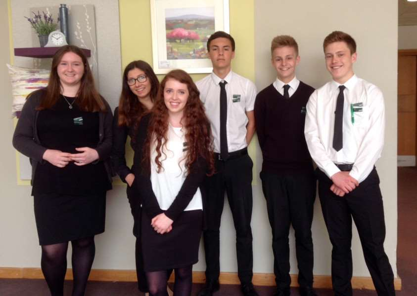 Phoebe Morris, Holly Risk, Laura Forrester, Daniel and Adam Reeve with Alex Heatley on work experience at John Lewis.