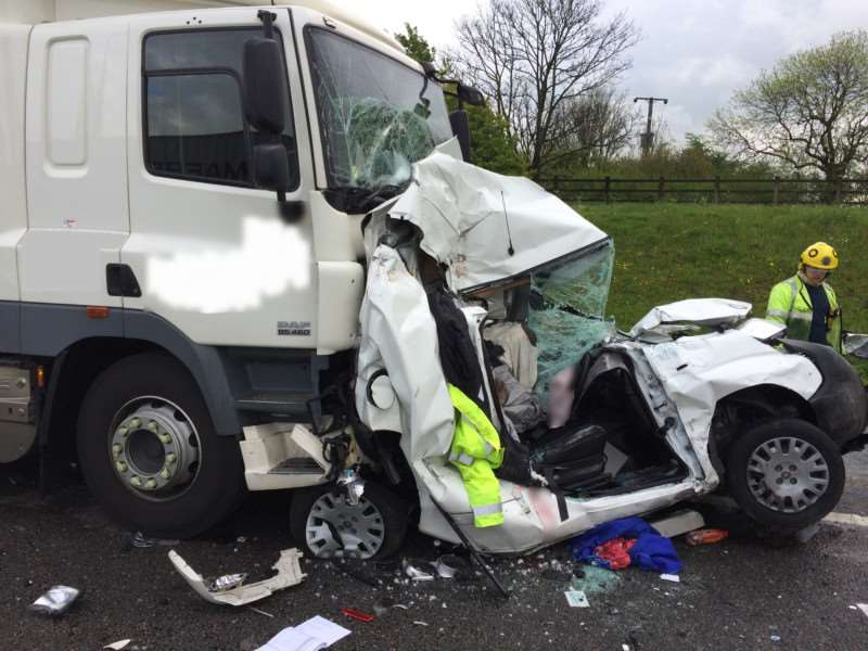 The crash on the A1. Pic: Cambridgeshire Fire and Rescue