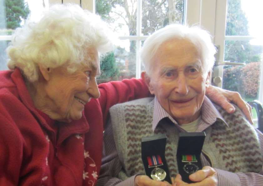 Greetham man Harry Weston, with wife Margaret, with the medals he received 70 years after fighting in the Second World War. EMN-150403-111040001