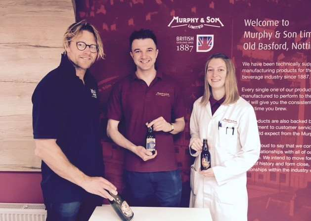 Stoney Ford's Simon Watson with microbiologists Adam Divall and Emma Blackwell