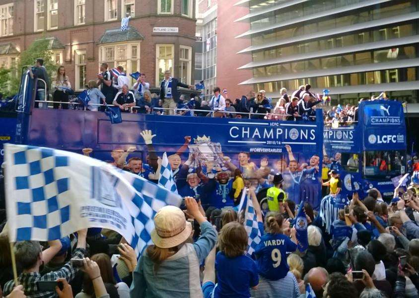 Leicester City's victory parade makes its way along Rutland Street in the city EMN-160519-132747001