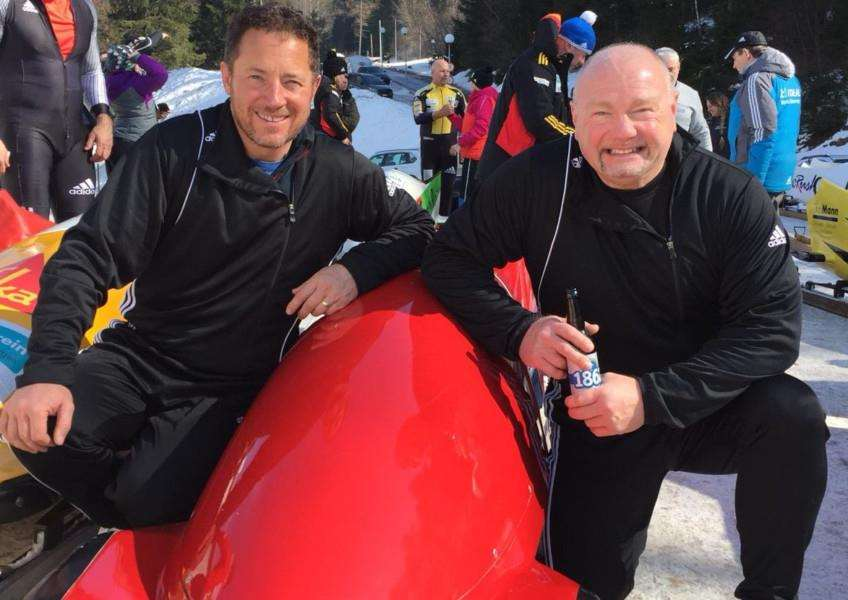Richard Hall and Graham Richardson with a Ferrari bobsleigh they 'borrowed' from the Italy national team