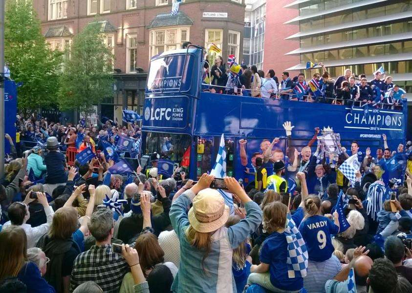 Leicester City's victory parade makes its way along Rutland Street in the city EMN-160519-133133001