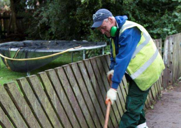Big Clean: A Big Clean operative clears a pathway off Goodliff Road in Grantham