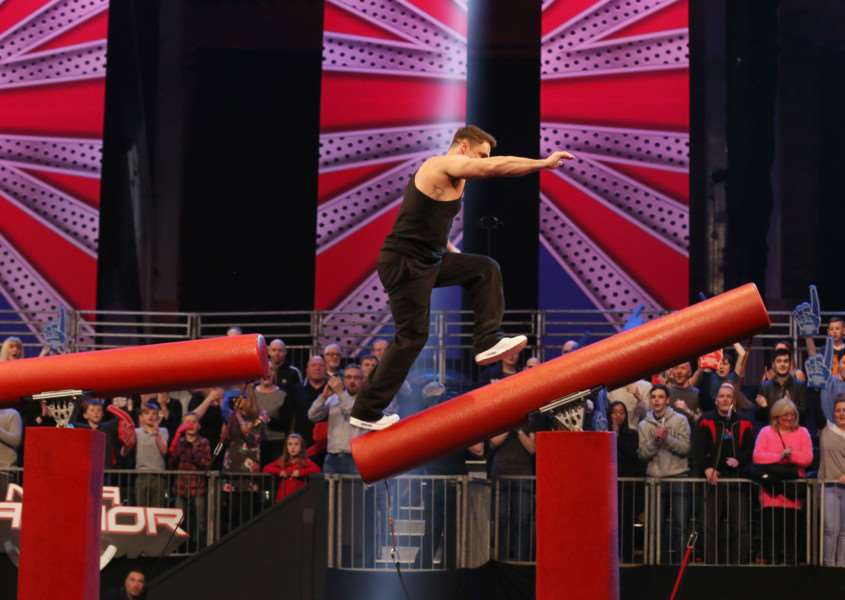 Wittering man Jake Maguire takes part in Ninja Warrior UK. Photo: ITV EMN-150421-114000001