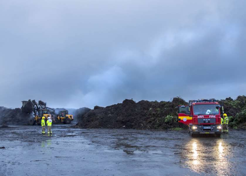 The scene at Honey Pot Lane, Colsterworth, where 200 tonnes of compost was alight.