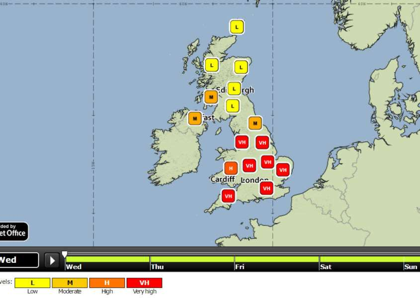 Very high pollen levels forecast for Wednesday and Thursday